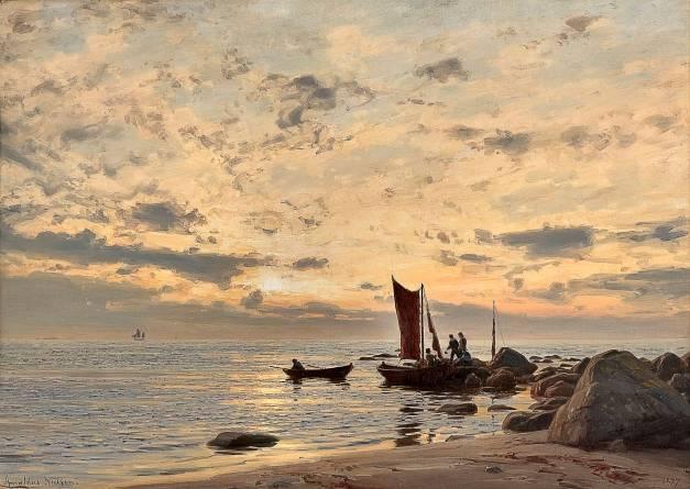 Amaldus Clarin Nielsen - Beach side, Nærland (Norway) after Rain (1897)